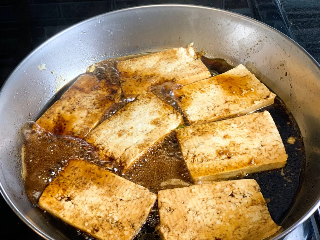 photo of sweet and sour tofu before it is finished with sauce