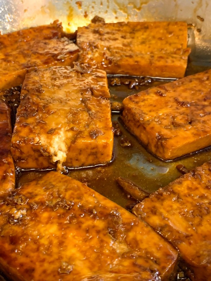 easy Sweet And Sour Tofu baking in pan