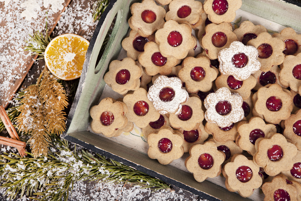 vegan christmas cookies on a tray for the holidays