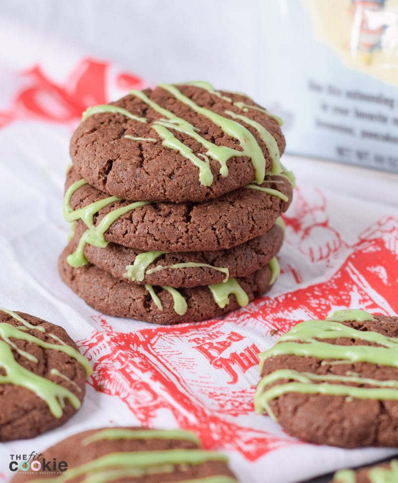 peppermint and chocolate vegan christmas cookies on dispaly