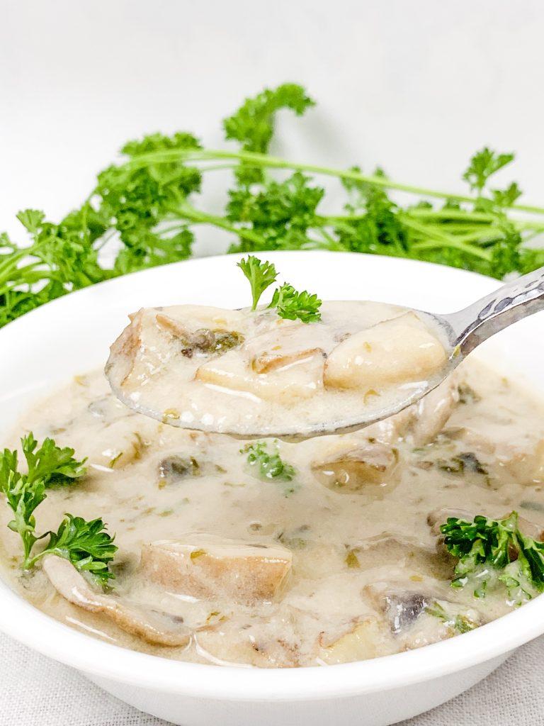 close-up spoonful of vegan chowder recipe
