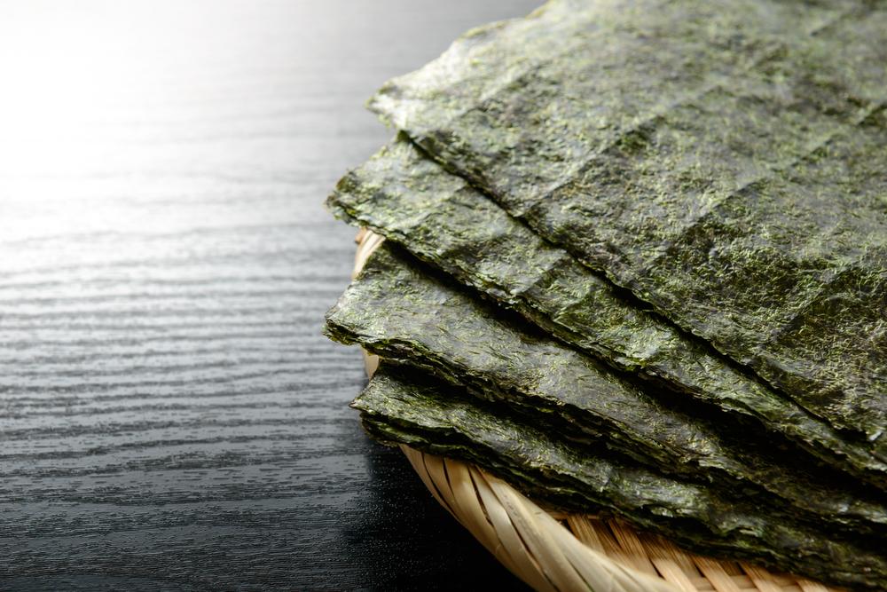 basket of sushi nori for seafood flavoring