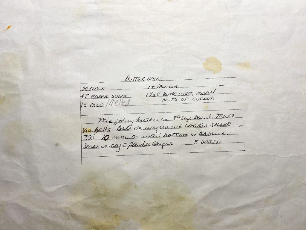 stained handwritten butterball recipe from Italian grandma
