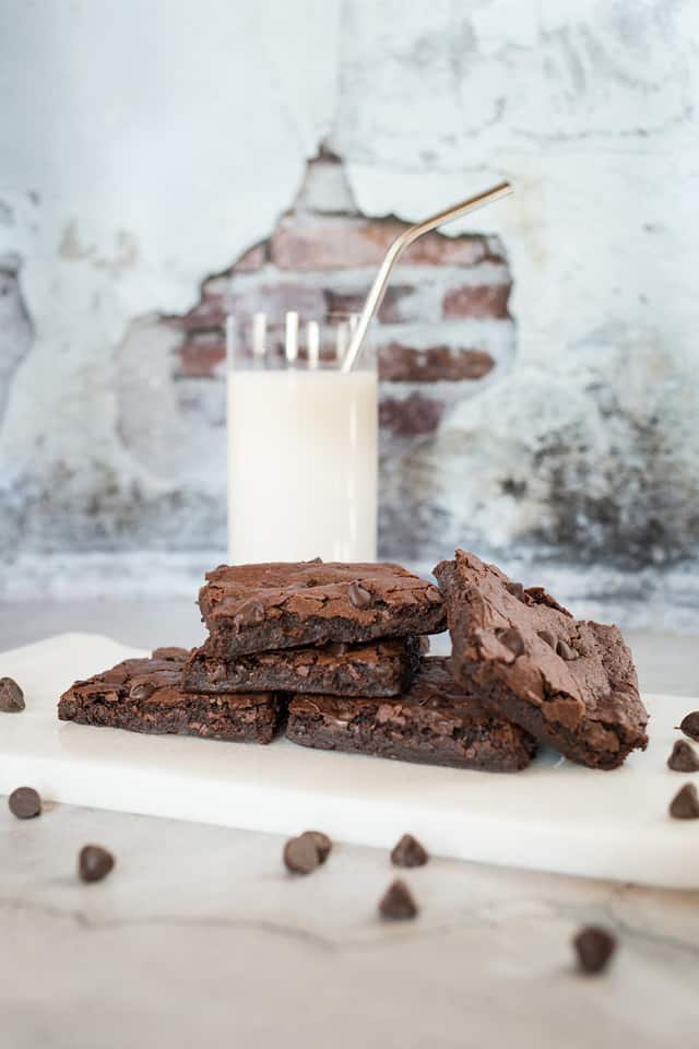 the best vegan brownie recipe with milk and distressed wall