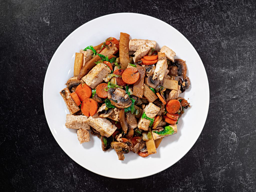 centered plate of moo shu vegetables