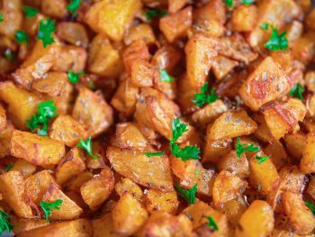 close up on vegan roast potatoes one of the best potato side dishes
