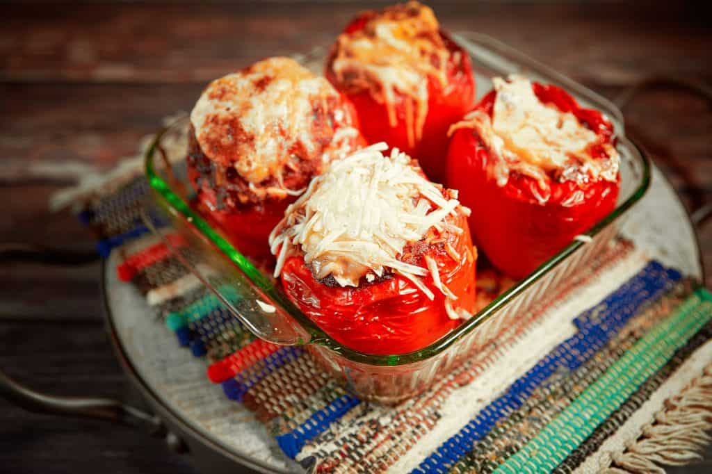 easy vegan stuffed peppers recipe in baking dish