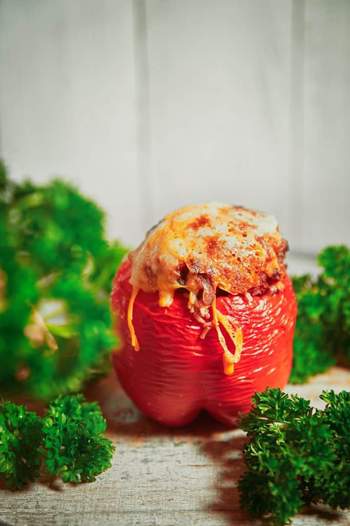 single healthy vegetarian stuffed pepper