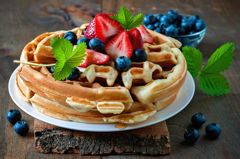 completed waffle with blueberries and fruit