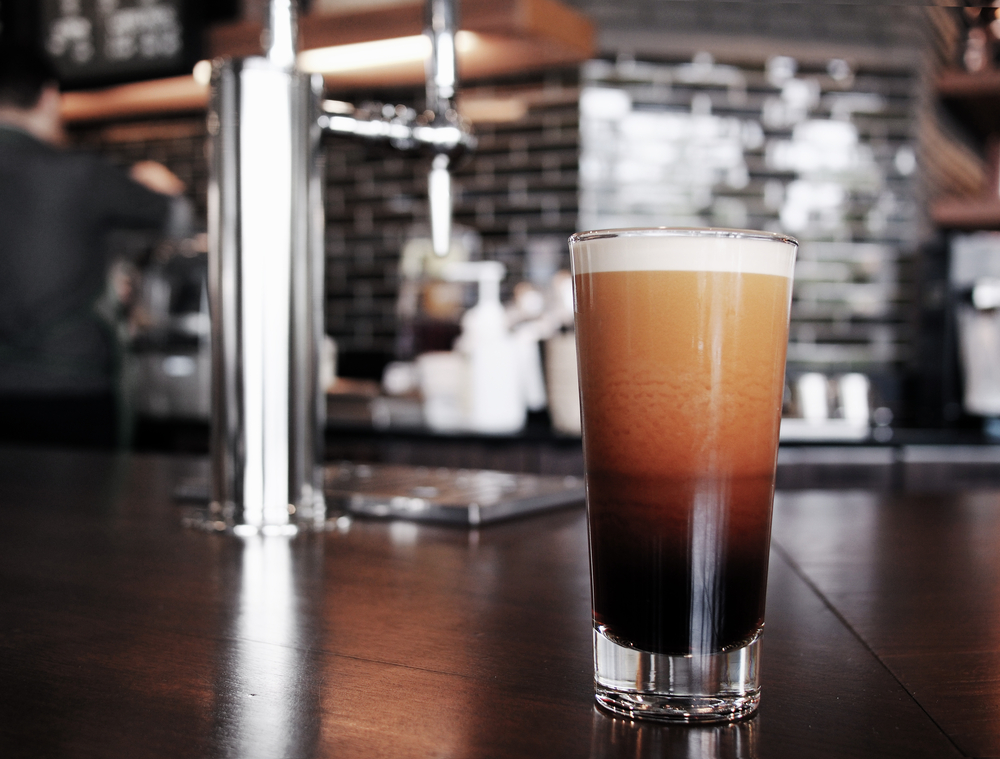 Nitro coffee served in a coffee shop