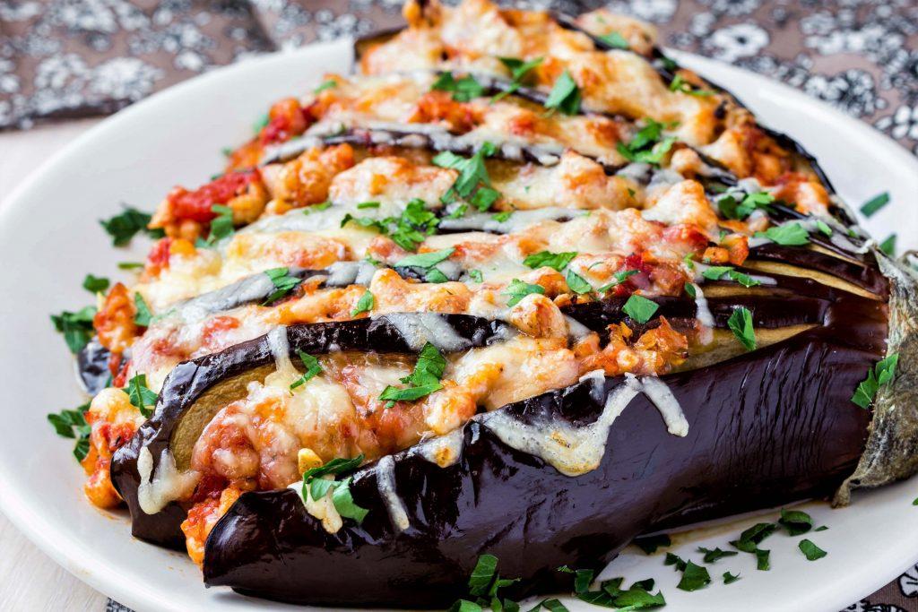 Photo of stuffed eggplant, one of many vegan Italian recipes.