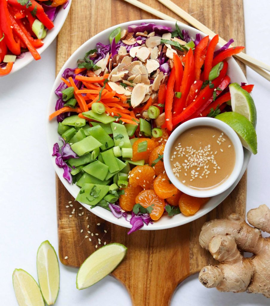 The orange tahini dressing gives this salad recipe