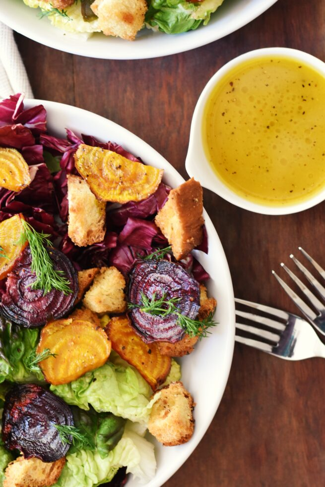 The beets make vegan salad recipes super colorful
