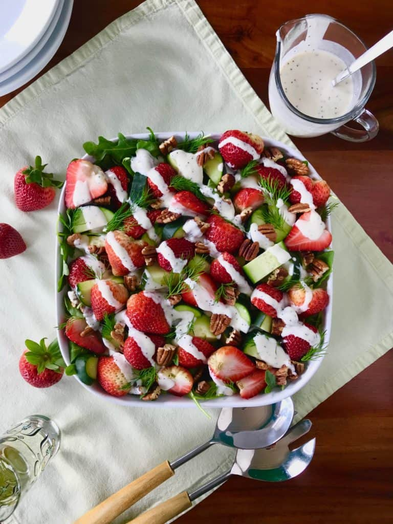 Strawberries and pecans make a great addition to this salad
