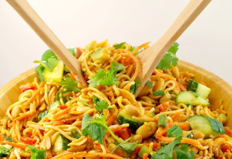 Use leftover spaghetti to make this spicy peanut pasta salad