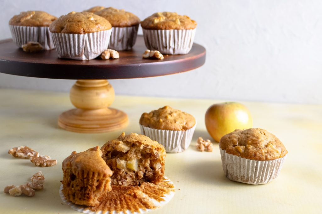 apple walnut muffins on cake stand