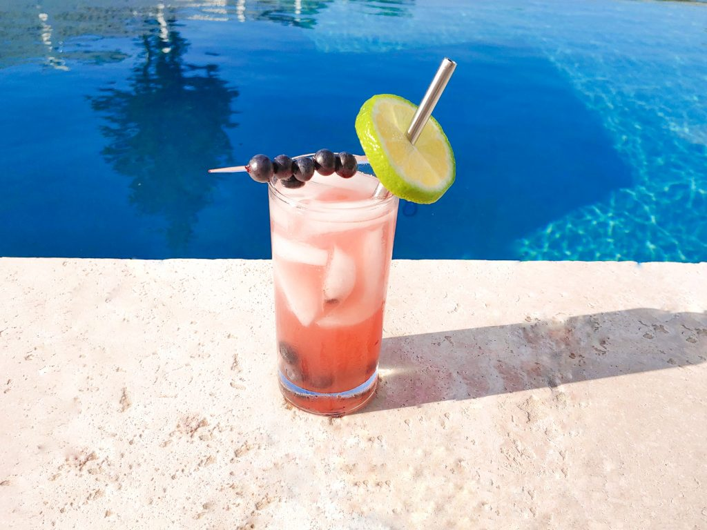 Photo of a blueberry vodka lemon spritzer with a lime slice and blueberry skewer garnish.