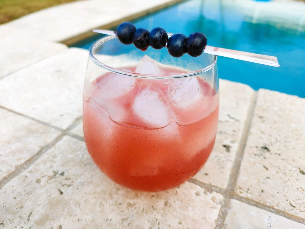 blueberry vodka drink with lemon and agave