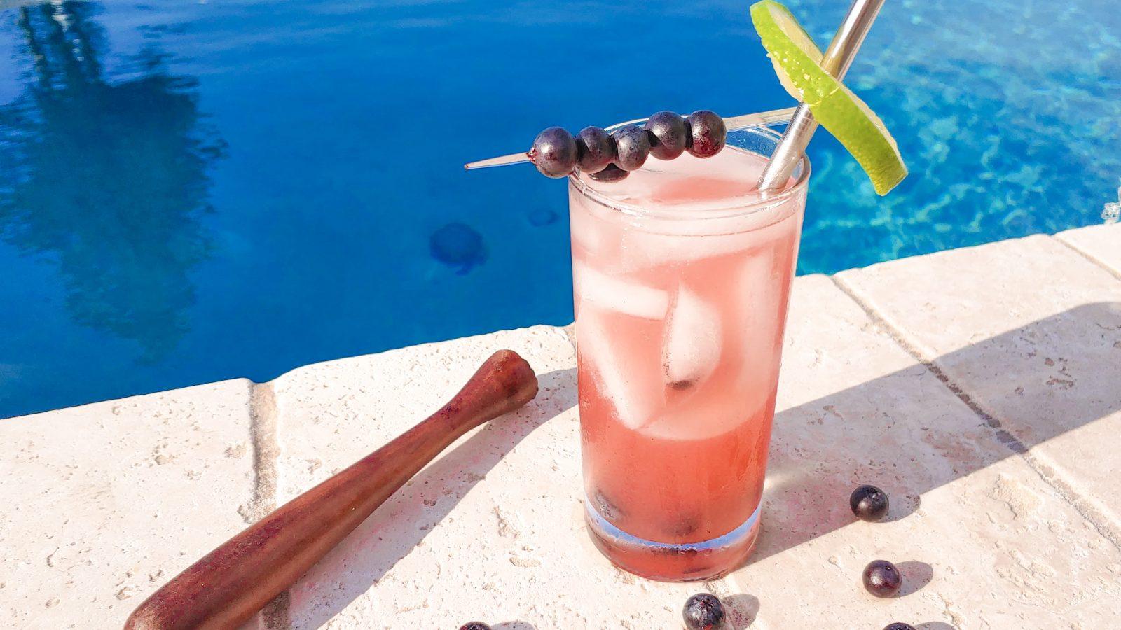 blueberry vodka drink recipe with muddler
