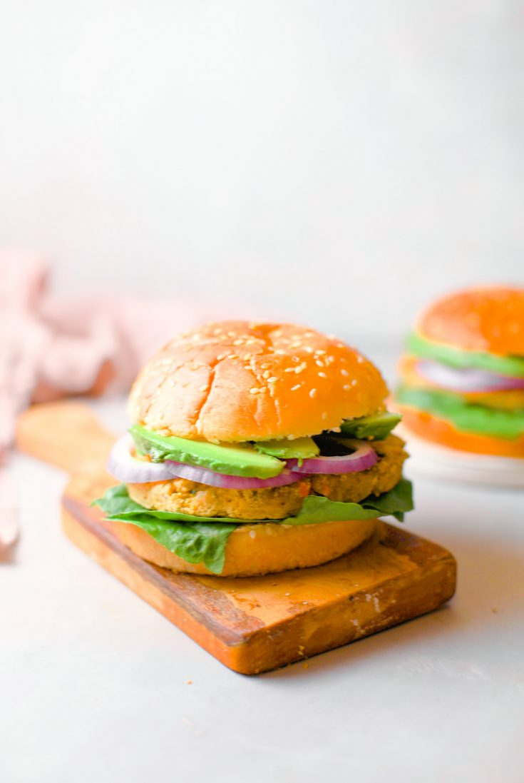 chickpea burgers recipe with lettuce and avocado