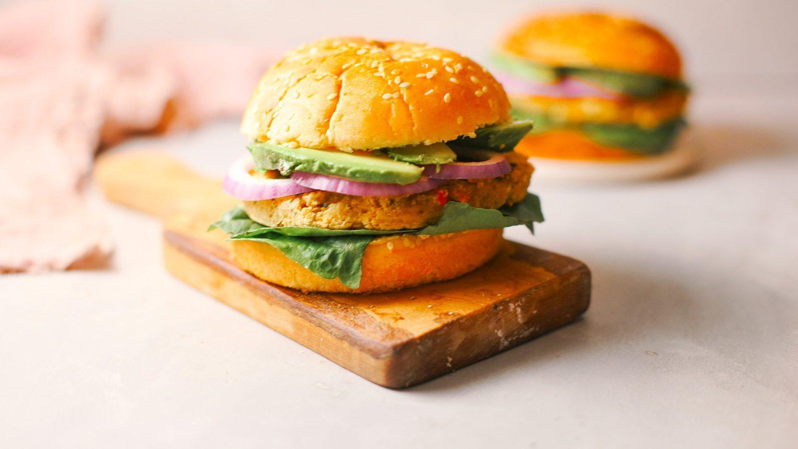 vegan chickpea burgers recipe on serving platter