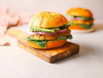 vegan chickpea burgers recipe on serving tray