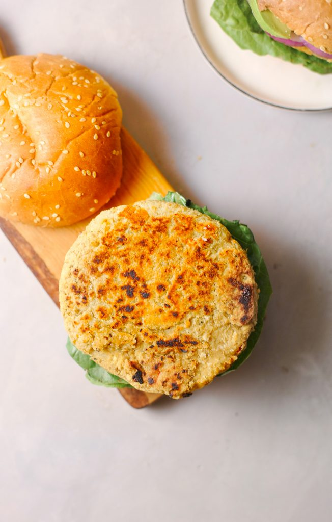 close up of vegan chickpea burger patty