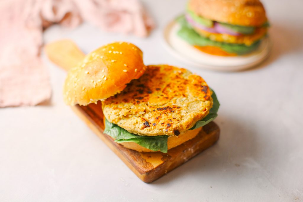 close up photo of vegan chickpea patty for veggie burger