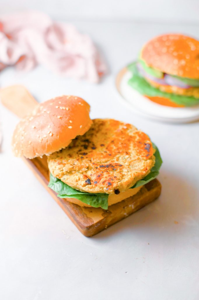 vegan chickpea patty on bun