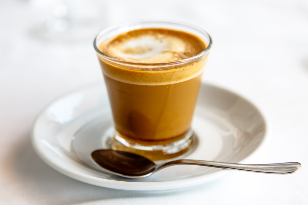 A Spanish Cortado coffee on a table