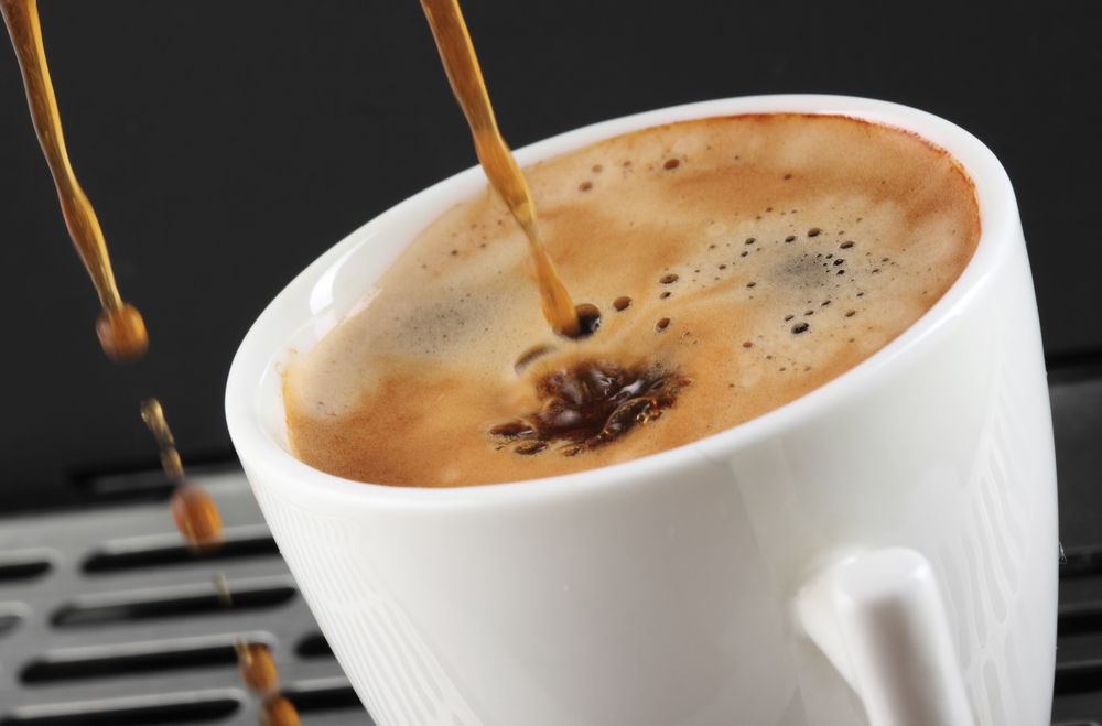 A lungo coffee getting poured