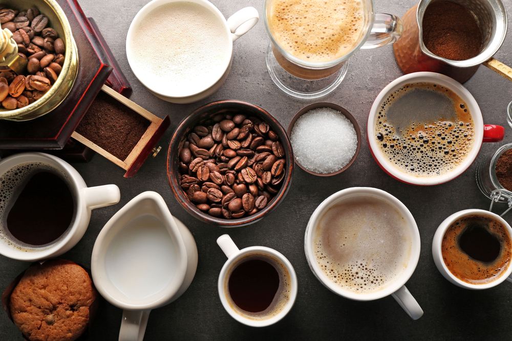 Hot drinks sitting on a table