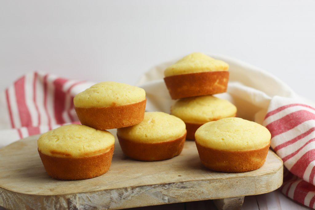 gluten free cornbread muffins on a white background