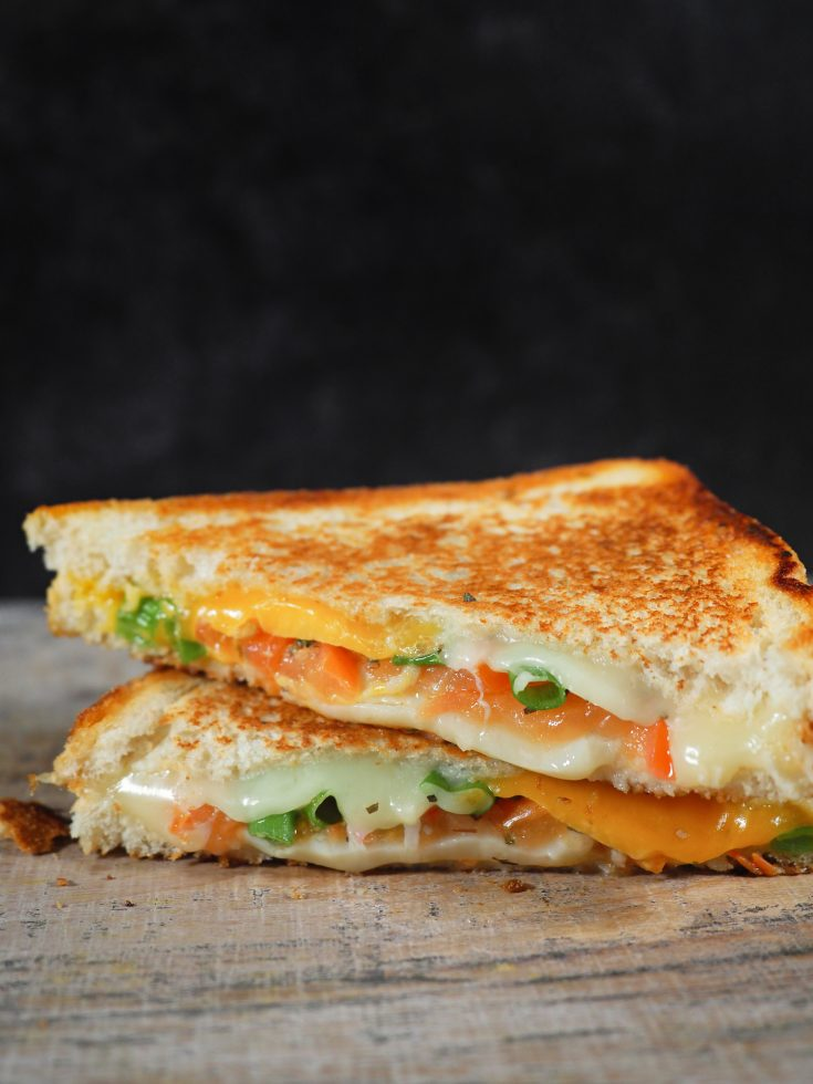 confetti grilled cheese with tomato and veggies