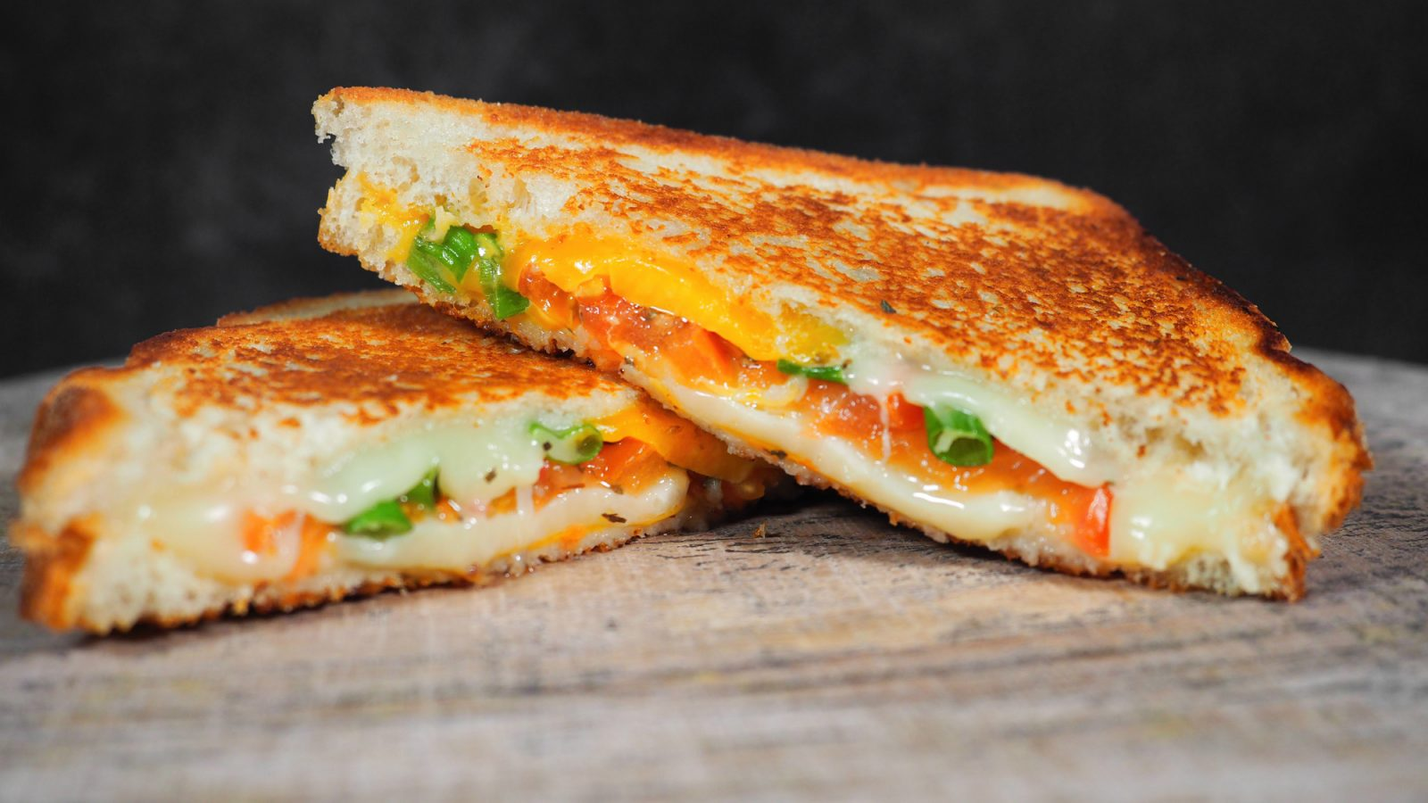 confetti grilled cheese with tomato
