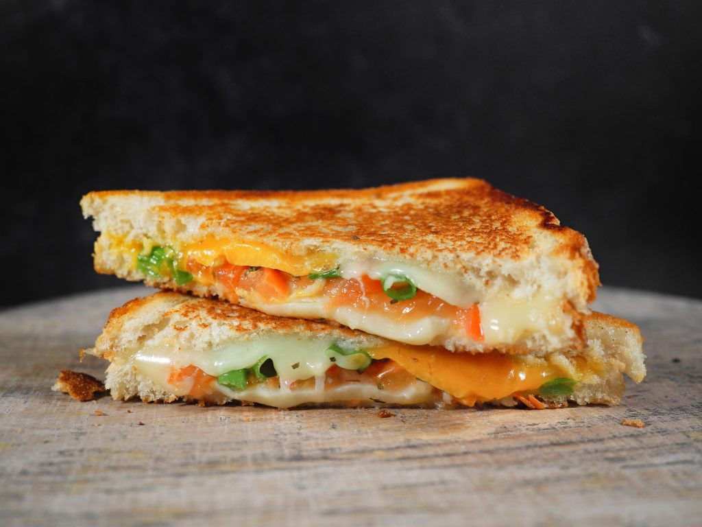 stacked tomato grilled cheese