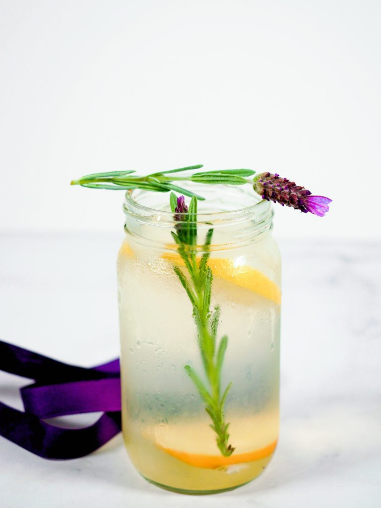 finished lavender lemonade with purple ribbon