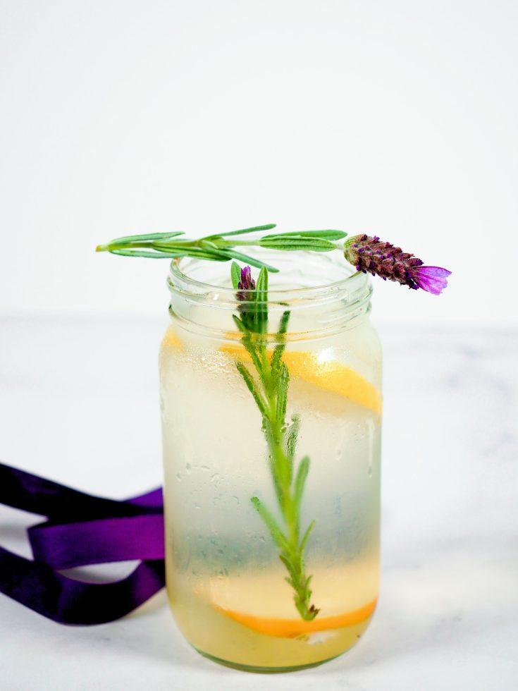 lavender lemonade in jar with purple ribbon