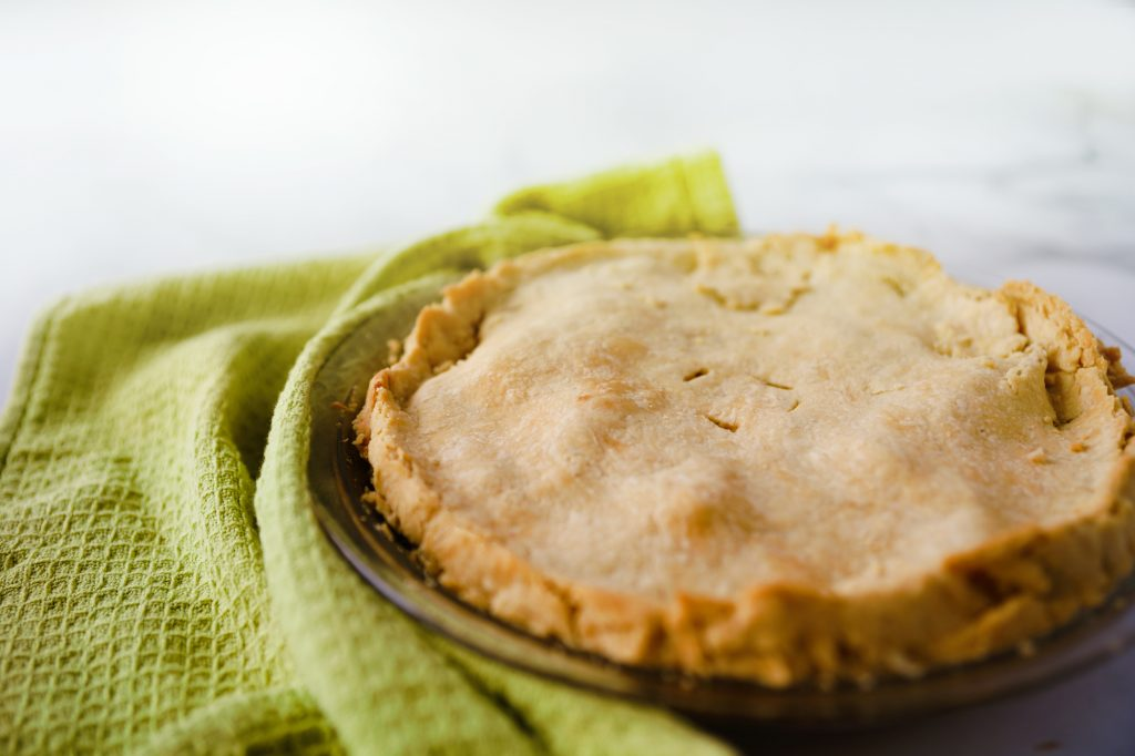 finished pie made with pie crust with oil