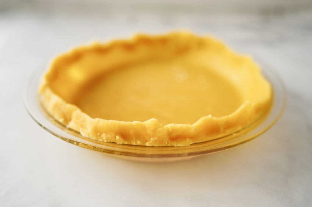 front side of oil pie crust