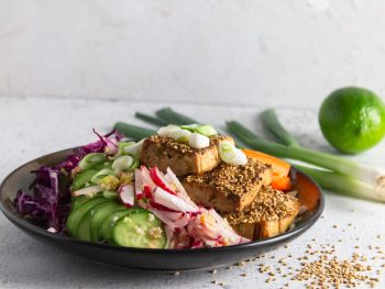 baked sesame tofu power bowl