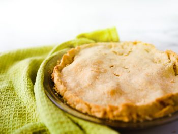 vegan apple pie recipe with green dish towel