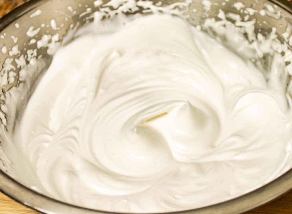 whipped aquafaba in a bowl