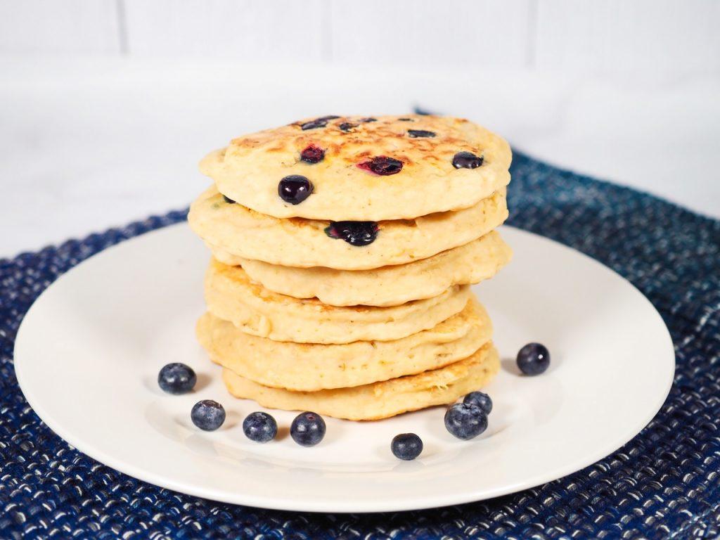 stack of vegan blueberry pancakes