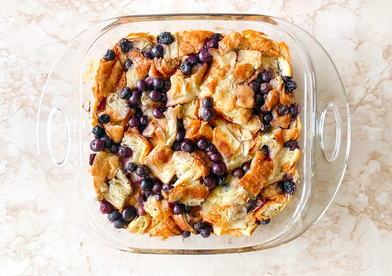 photo of vegan bread pudding from above