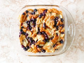 vegan bread pudding recipe in a glass bowl