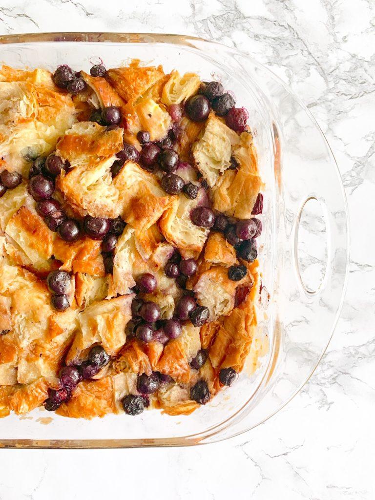 side of pan of vegan bread pudding recipe