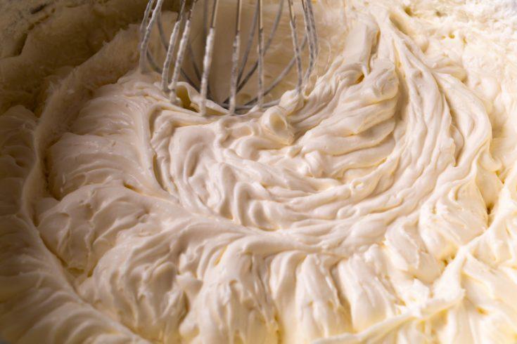 vegan buttercream frosting with whisk