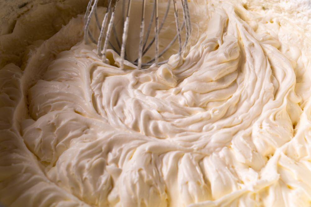 vegan buttercream frosting being whisked
