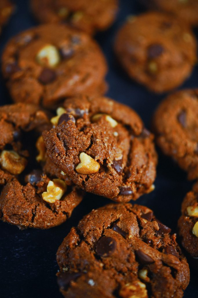 close up of vegan chocolate cookies on tray
